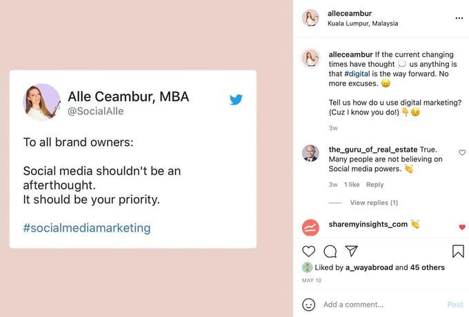 Publicación de Twitter reciclada en cita gráfica de Instagram