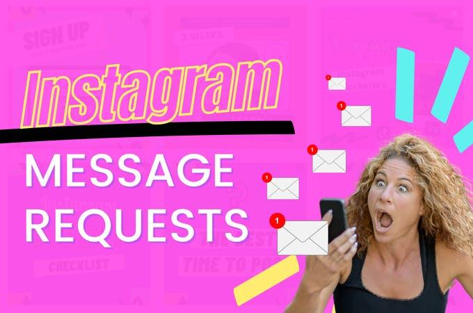 Una niña sosteniendo un teléfono junto a las solicitudes de mensajes de texto de Instagram