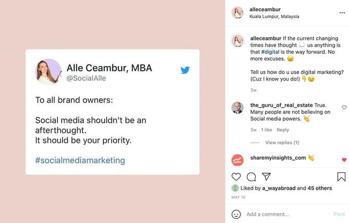 Use una publicación de Twitter en Instagram