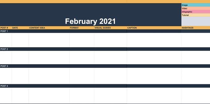Un ejemplo de un calendario de contenido utilizado por un administrador de redes sociales.