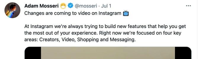 El CEO de Instagram anuncia cambios en el video de Instagram