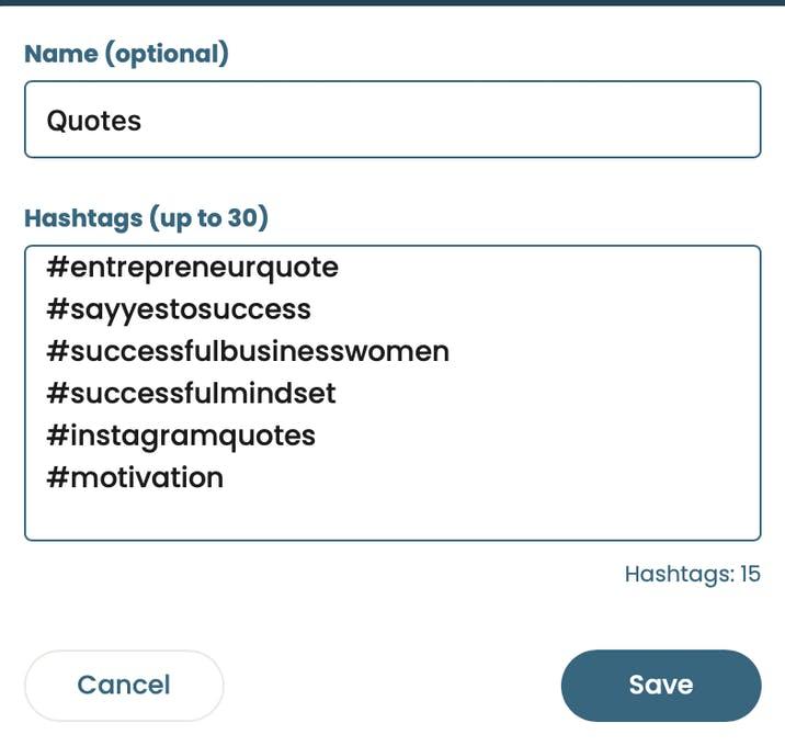 cree listas de hashtags personalizadas que puede insertar en su publicación programada de Instagram