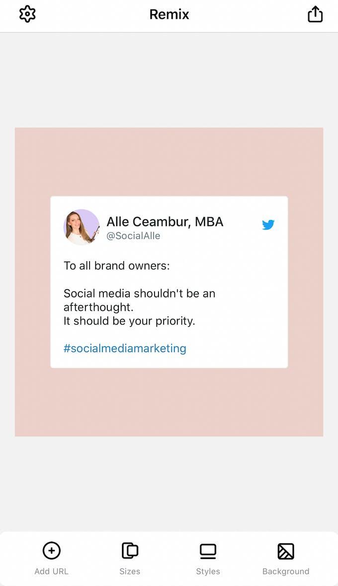 Cita de Twitter publicada en Instagram