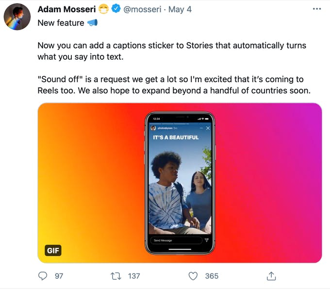 Subtítulos automáticos para historias de Instagram