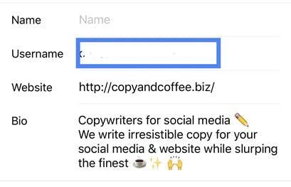 Captura de pantalla de un perfil de Instagram, cambiando el nombre de usuario.