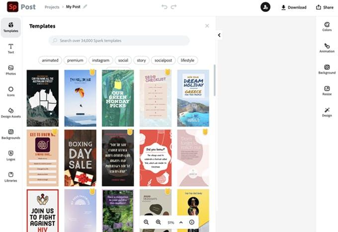 Herramienta gratuita de historias de Instagram para crear plantillas