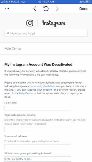 HAGA otra llamada para recuperar su cuenta de Instagram deshabilitada