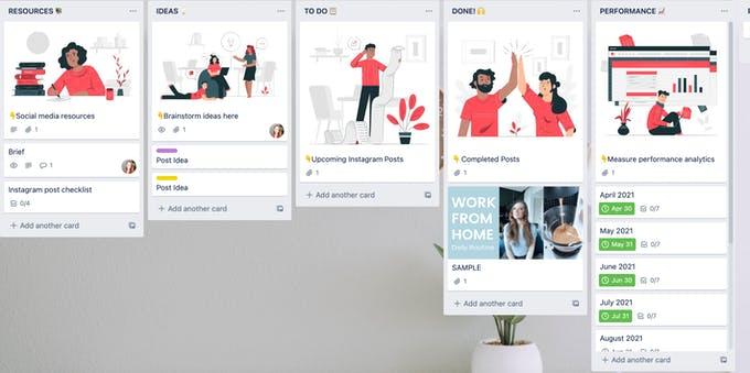 Ejemplo de un tablero de trello donde puede enumerar sus temas para programar en Instagram