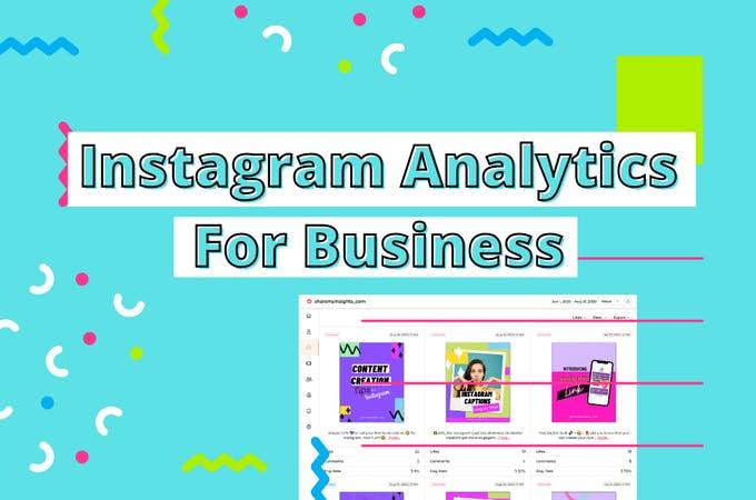 Imagen de portada con texto Instagram Analytics for Business con una captura de pantalla de una herramienta de análisis de Instagram al lado.